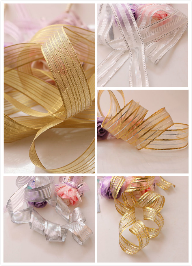 5Yards Silver Gold Glitter Satin Ribbon Party Home Wedding Decoration Gift Wrapping Christmas New Year DIY Craft Material
