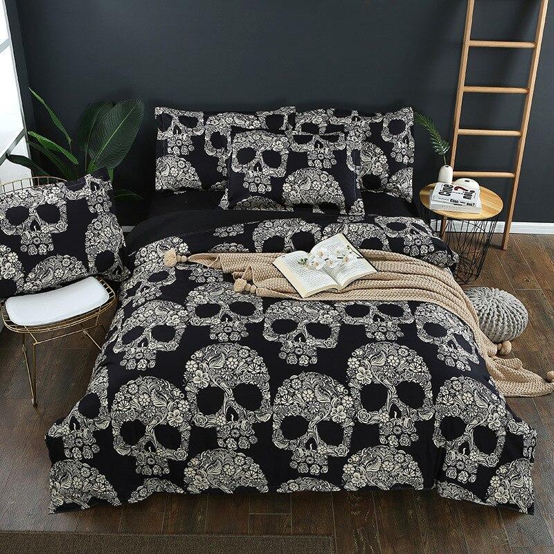 padrões crânio preto duvet cover roupa cama linho
