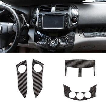 For Toyota Rav4 RAV 4 2006 - 2012 Carbon Fiber Car Center Control Warning Light Switch Air Condition Vent Cover Frame Inner Trim for 2006 2012 toyota rav4 3 5l air fuel sensor gl 14049 234 9049 89467 06070