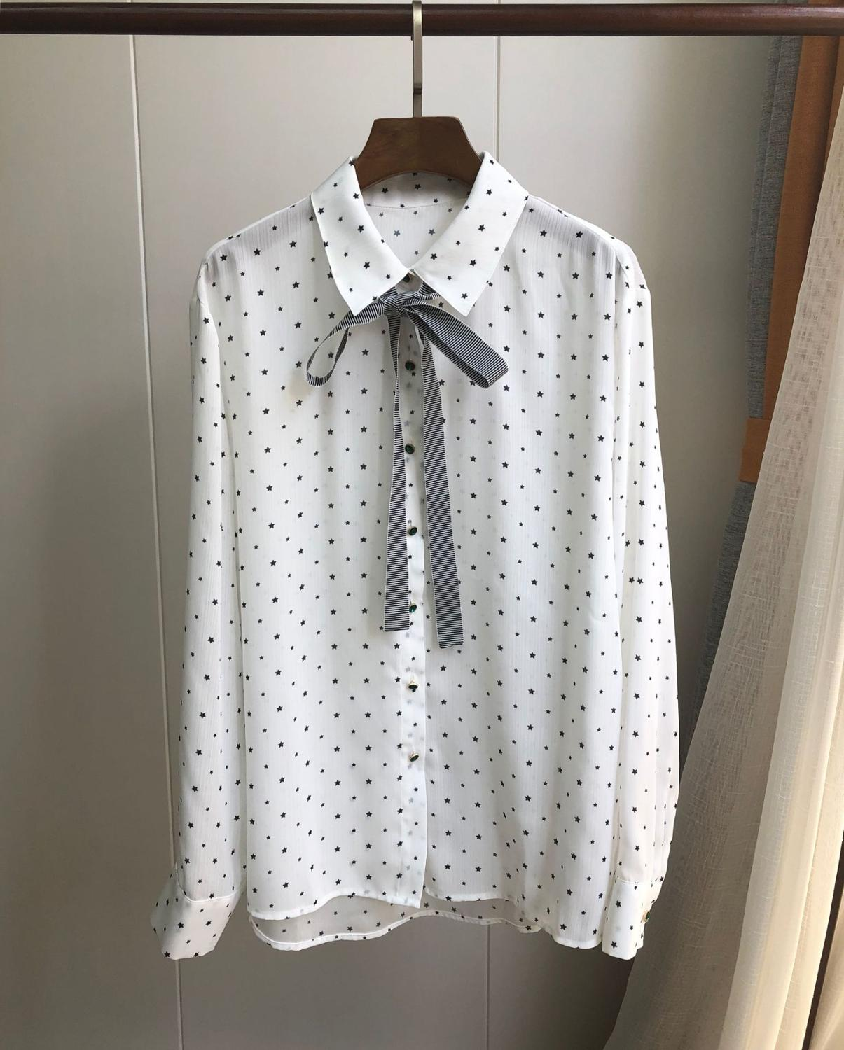 Early Autumn White Women's Shirt long sleeve blouse Stars printted Exquisite Emerald Buckle Bow Tie ladies office top