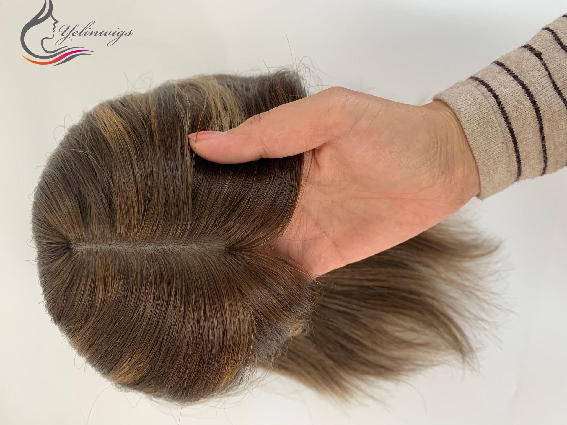 Destaque 16 Polegada europeu virgem cabelo topper