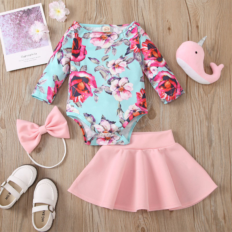 2021 Spring and autumn Baby Girl Clothes Set 3-36M Print Flowers Long sleeve Short skirt Headband 3Pcs Toddler Kids Outfits