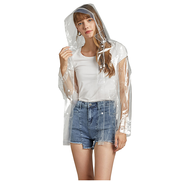 Transparent Raincoat Fashion Adult Hiking Outdoor Plastic Environment Protection