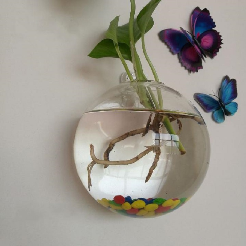 Transparent Plant Wall Mounted Hanging Fish Tank Flower <font><b>Round</b></font> Vase Pot Acrylic Bowl Bubble <font><b>Aquarium</b></font> Home Decoration 10x10cm image