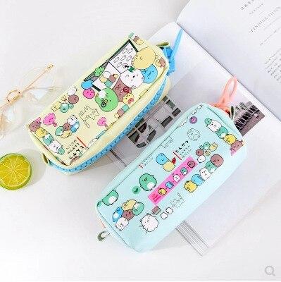 Kawaii pencil bags high capacity pencil case school pencil pouch stationery pen case PU korean bag office supplies