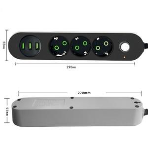 Image 2 - 2 Pin Tròn EU RUS Cắm Điện Dây Chuyển Đổi Đa Năng Ổ Cắm 3 Cổng USB Điện Nối Dài 1.8M 3M mạng Lưới Lọc Dành Cho Điện Thoại