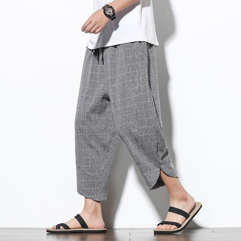 2020 New Ankle-Length Cotton Linen Plaid Pants Men Trousers Hip Hop Jogger Pants Men Sweatpants Streetwear Men Harem Pants