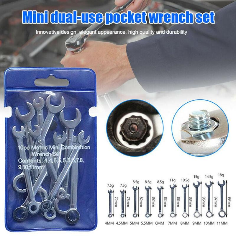 10Pcs Mini Engineer Wrench Dual Heads Offset Ring Spanner Combination Small Wrenches Set Key Ring Spanner Hand Tools 4-11mm