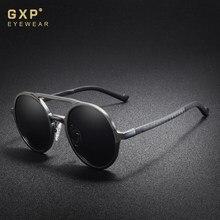 Gxp 2020 steampunk clássico de alumínio lente redonda óculos de sol polarizados óculos de condução dos homens
