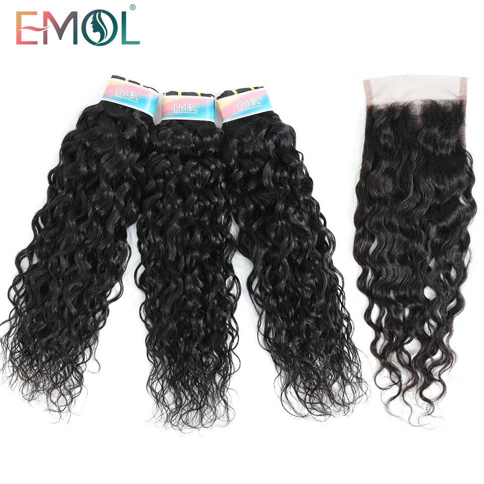 Indian Water Wave Bundles With Closure Hair Bundles With Closure Free Part Non-Remy Human Hair 3 Bundles