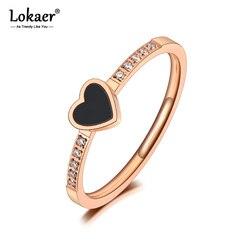 Lokaer Trendy tytanowa stal nierdzewna czarna akrylowa miłość serce pierścionki CZ kryształowe serce pierścionek zaręczynowy dla kobiet dziewczyn R20027