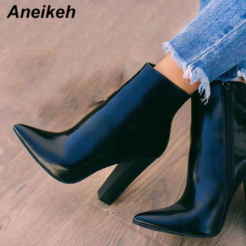 Aneikeh New 2020 Concise PU Women Boots Zipper Square High Heel Solid Pointed Toe Shoes Party Dance Ankle Boots Black Size 35-42 new arrival fashion ankle pointed toe square heel boot for woman in spring and autumn big size 35 42