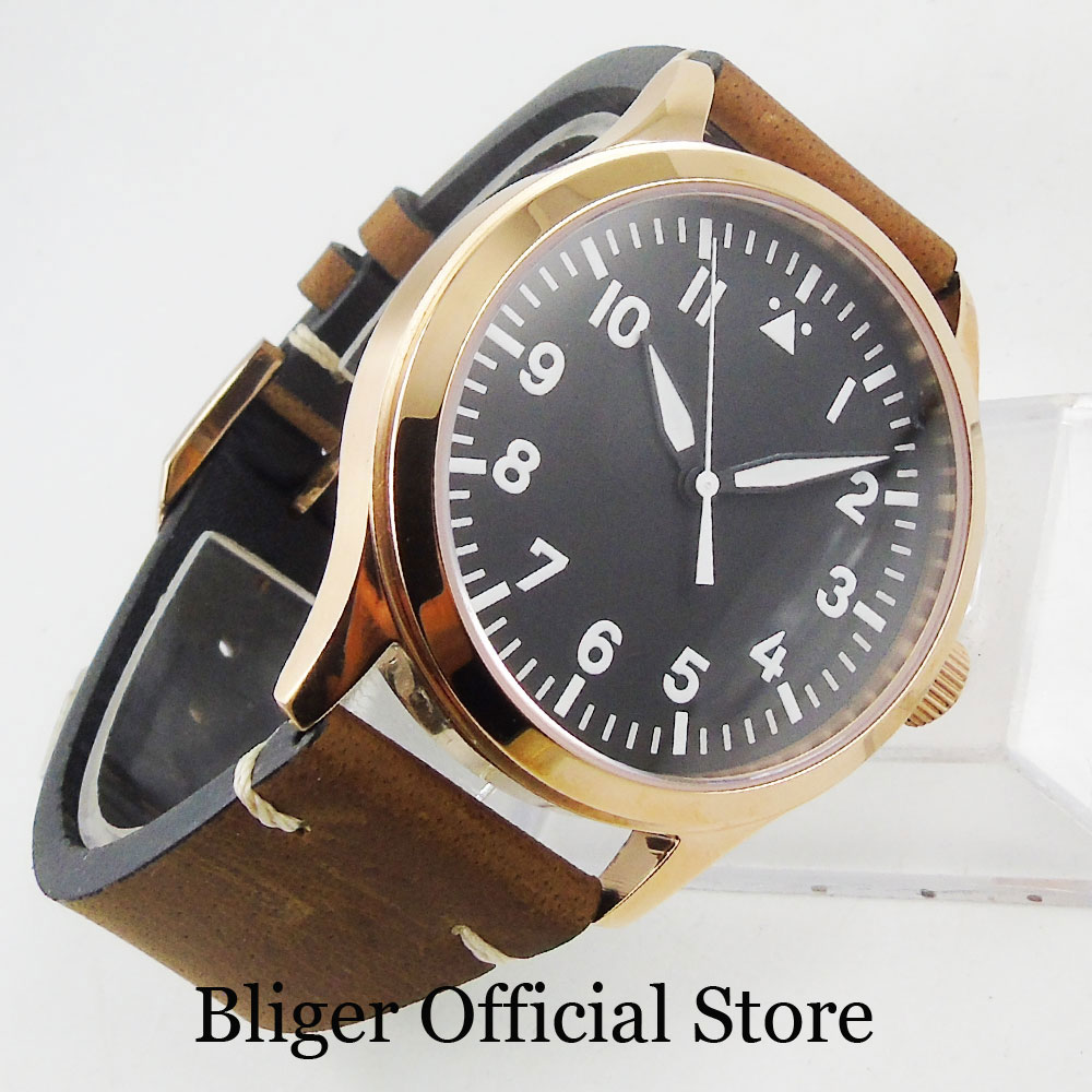Top Quality Automatic Mechanical Men Wristwatch 42mm Round Black Sterile Dial ST Movement Luminous Hand Rose Gold Case
