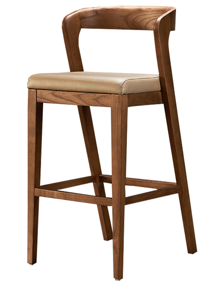 Nordic Solid Wood Bar Stool Bar Stool Backrest Armrest Padded Chinese-style Log Bar Bar High Chair