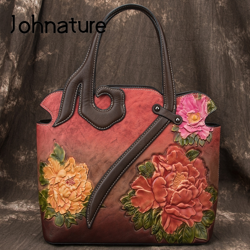 Johnature 2019 New Retro Luxury Handbags Women Bags Designer Genuine Leather Handmade Embossing Totes Shoulder & Crossbody Bags