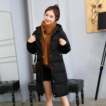 new mens winter cotton padded long coat black hooded parka thick warm casual plus size m xxxxxl u73 Lingwave Cotton Padded Hooded Ladies Mid-Length Jacket Loose Casual Plus Size S-3XL Women Winter Thick Warm Black Parka Coat M19