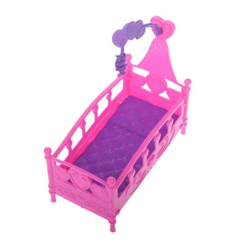 Rocking Cradle Bed Doll House Toy Furniture For Kelly Barbie Doll Accessories Girls Toy Gift H37A
