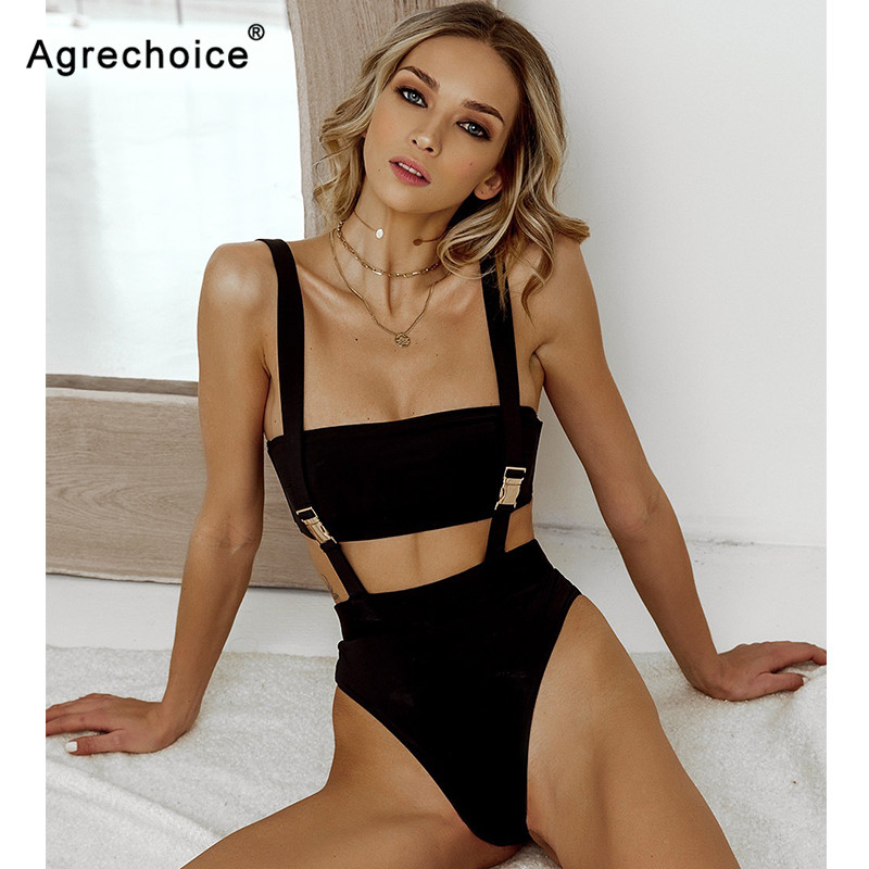 2019 New Sexy High Waist Bikini Swimwear Women Solid Swimsuit Bandeau Push Up Bikini Set Belt Bathing Suits Beach Wear Swim Suit