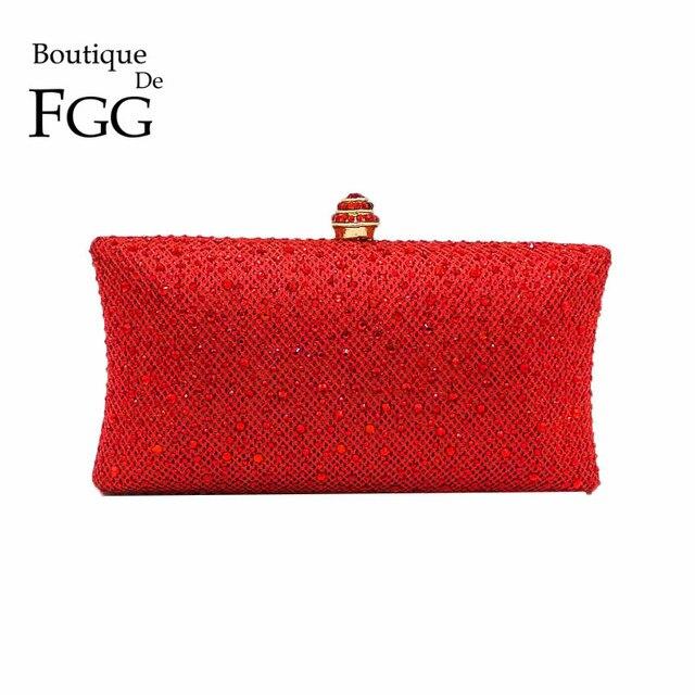 Boutique De FGG Elegant Red Glitterผู้หญิงClutchesกระเป๋าเจ้าสาวคริสตัลและกระเป๋าถือค็อกเทลRhinestoneกระเป๋า