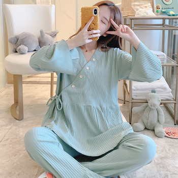 Large Size Loose Cotton Maternity Nursing Sleepwear Breast Feeding Nightwear Clothes for Pregnant Women Pregnancy Pajamas Suits new maternity clothes pregnancy sleepwear nursing pajamas set breast feeding nightwear thick sleepwear for fall winter
