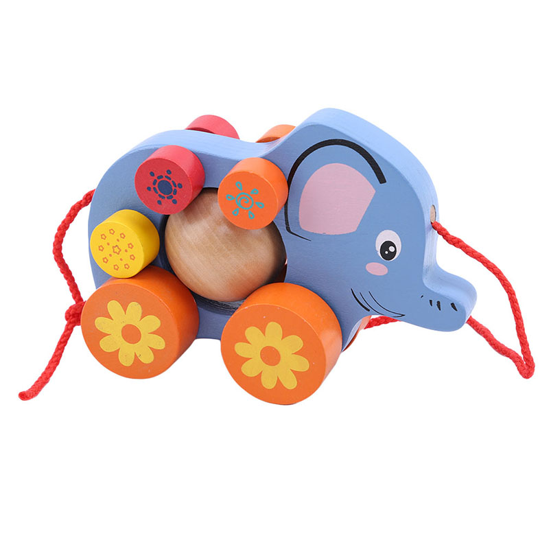 Wooden Toys For Children Animal Elephant Wooden Trailer Puzzle Games Animals Learning Educational Puzzle Popular Toys