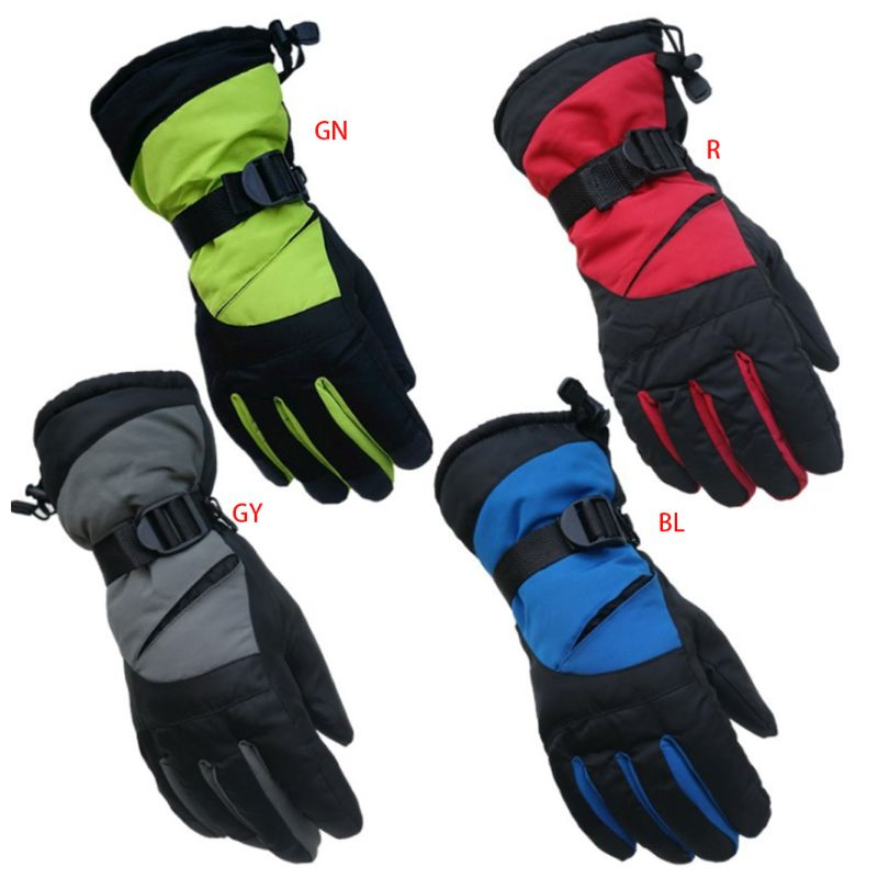 Men Women Waterproof Winter Snow Gloves Contrast Color Thermal Insulated Adjustable Sport Cycling Snowboard Mittens Wrist Warmer