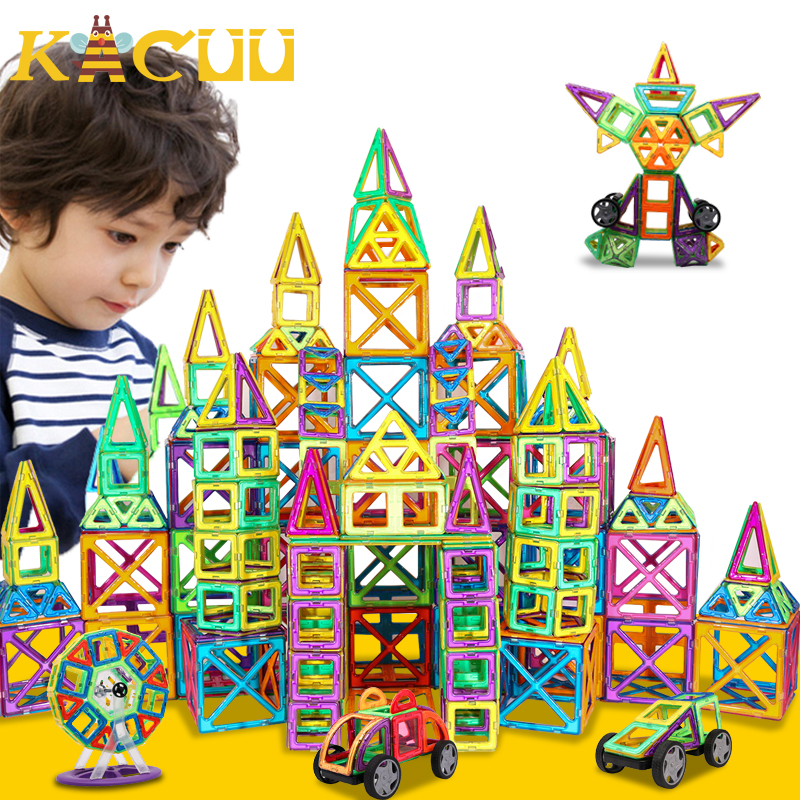151PCS BIG SIZE Magnetic Designer Construction Set Model & Magnent Toy Triangle Square Constructor Plastic Boys Girls Gift