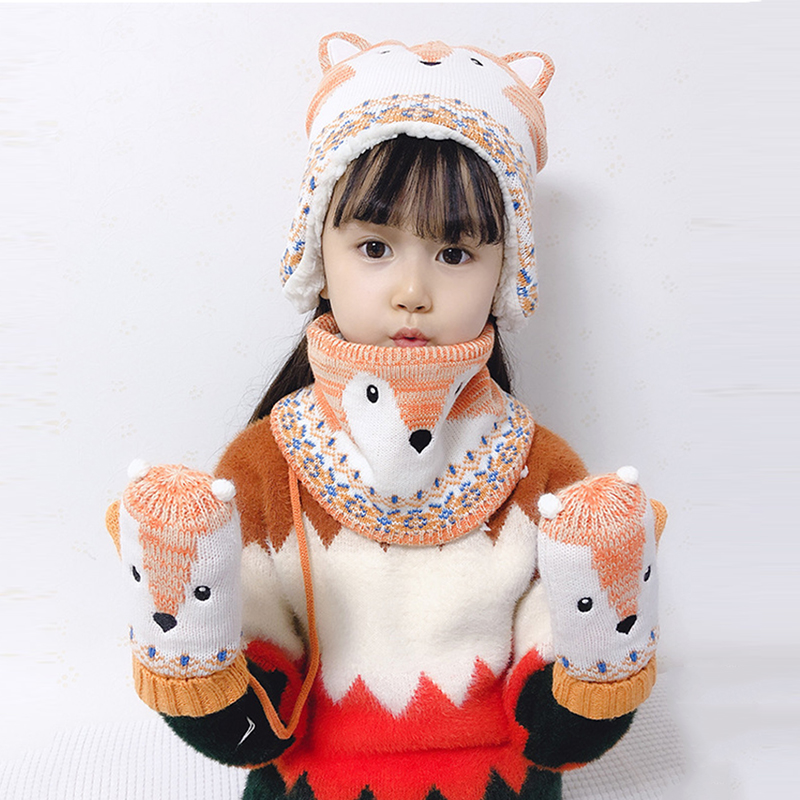 Kid Hat Scarf Glove Set Winter Boy Girl Earflap Beanie Warm Fleece Animal Fox Thick Autumn Skiing Outdoor Accessory Toddler