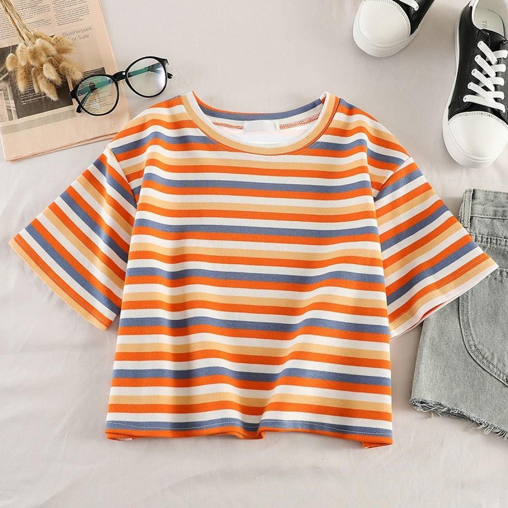 Fashion Rainbow Striped T Shirt Crop Tops tshirt Casual Summer Ladies Loose O-Neck Tops Female Women Half Sleeve Shirt Blusas