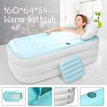 160x64x84cm grande tamanho inflável banheira de banho spa pvc dobrável portátil para adultos com bomba de ar casa banheira inflável azul
