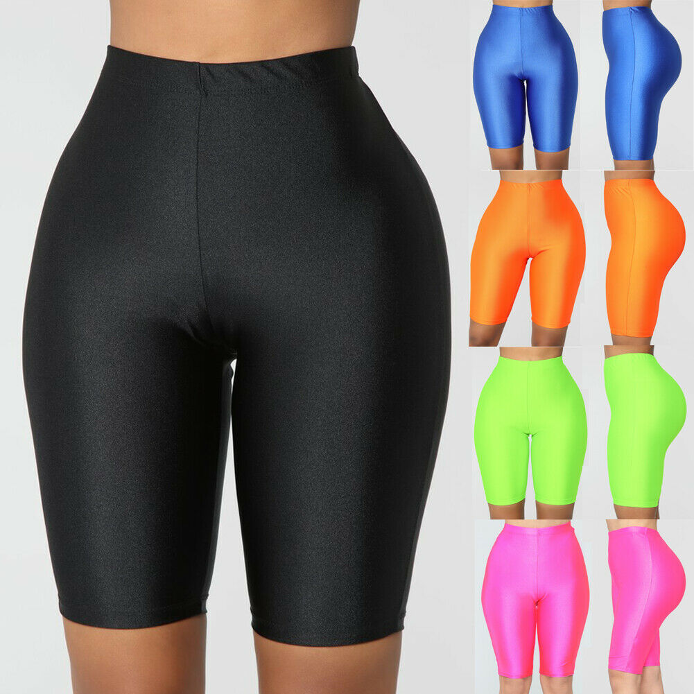 Ladies Womens Elasticity Yoga Shorts Cycling Shorts Dancing Neon Super Stretch Shiny High Waist Workout Out Fitness Leggings