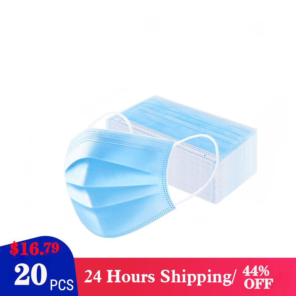 20pcs CE Certification Disposable Mask 3-Layer Non-woven Disposable Soft Breathable Flu Hygiene Face Mask  Features As KF94 FF2
