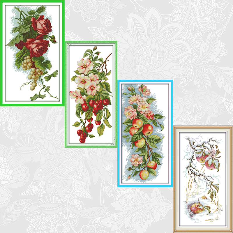 Joy Sunday Flowers and Fruits Paintings Aida Canvas 11CT and 14CT Needlework Cross stitch kits DIY Handmade Embroidery Crafts image