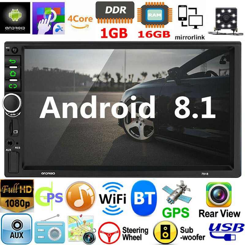 2 DIN Android 8.1 Car Stereo 7 Inch GPS Navi MP5 Pemain Double WIFI Quad Core Bt dengan Kamera 7918