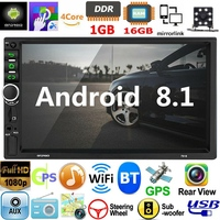 2 Din Android 8.1 Car Stereo 7 Inch GPS Navi MP5 Player Double WiFi Quad Core BT with Camera,7918
