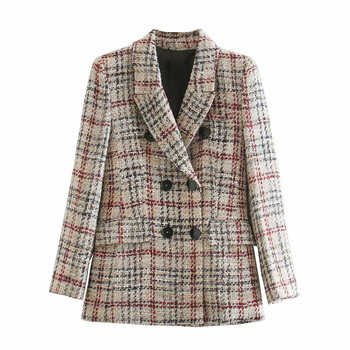 Retro plaid Blazer Women Za 2020 Blazer Autumn Lapel Long Sleeve Double Breasted Blazers Ladies Elegant Coats Woman