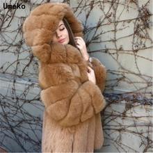 Umeko 2020 nowe eleganckie sztuczne futro z lisa kobiety moda zimowa średnie długie sztuczne futro lisa kobieta ciepłe sztuczne futro z lisów płaszcze damskie tanie tanio Faux futra CN (pochodzenie) Szeroki zwężone Na co dzień REGULAR NONE O-neck Przycisk zadaszone Pełna EL1586