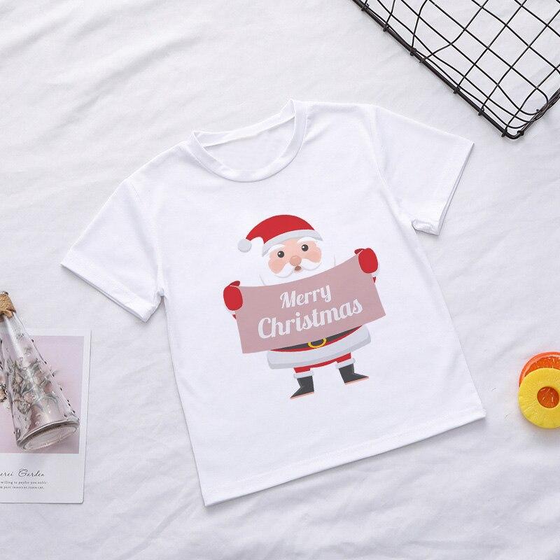 Casual Summer Kids Boys T Shirt Santa Claus Tree Elk Kawaii Printing Christmas Shirt Lovely Short Sleeve Fashion Baby Girl Tops 4