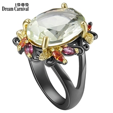 DreamCarnival1989 Fabulous Statement Ring for Women Elegant Dazzling Light Green Zircon Party Must Have Gothic Jewelry WA11877GR
