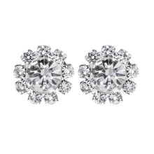 1 Pair 10-Stones Round Cubic Zirconia Flower Shape Stud Earrings Fashion Jewelry(China)