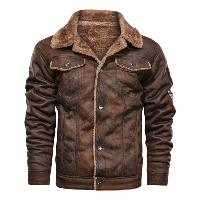 Hdfc436d0abb5456eb2eae33406688c541 2020 New Autumn And Winter Lapel Large Men's Jacket Casual Fashion Motorcycle Loose Leather jackets