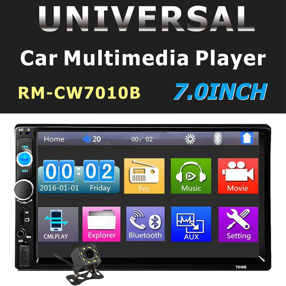 7'' inch Car Radio Player Mirror Link autoradio 2 din General Car Models LCD Touch Screen Bluetooth stereo Rear View Camera7010B image