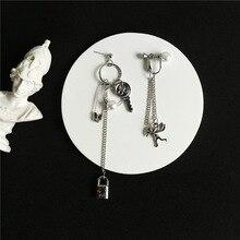Милый Купидон Ангел кулон серьги из нержавеющей стали, длинная цепочка в форме замка панк удача ювелирные изделия для крутых женщин дружбы девушка подарки