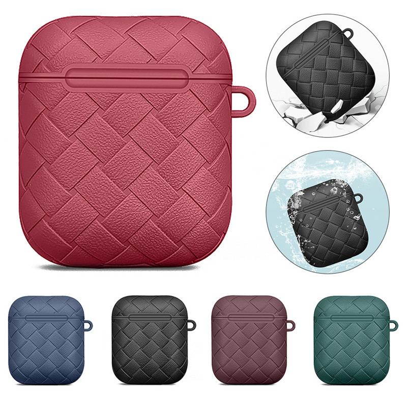 Woven Soft TPU Silicone Cover For Apple Air Pods 1 2 Case For Air Pods 2 Portable Keychain Wireless Bluetooth Earphone Box Cases (15) - 副本