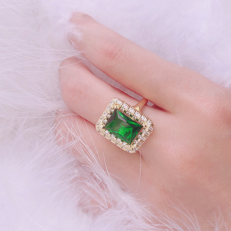 New 925 Silver Natural Emerald Ring Female Models European And American Fashion Square Gemstone Female Ring Personalized