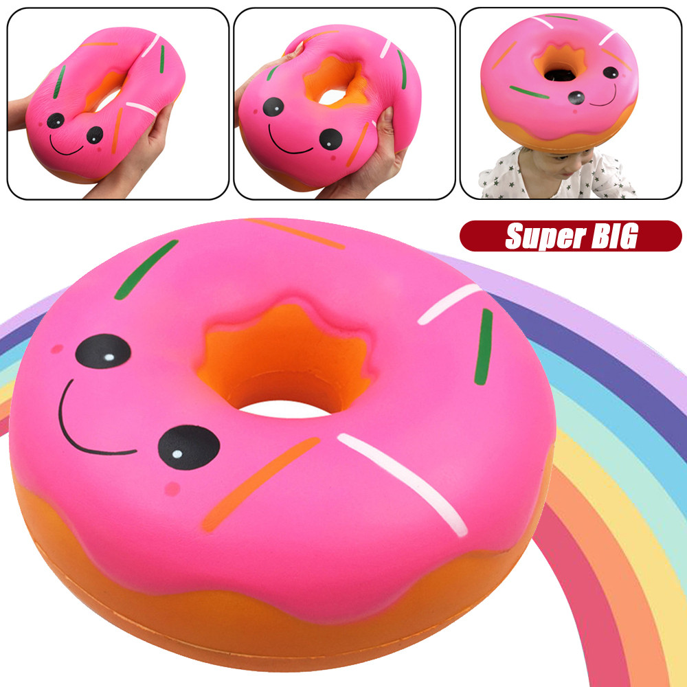 Oversized Cartoon Donut Toy For Children Squishies Jumbo Giant Doughnut  Slow Rising Fruit Scented Stress Relief Toy Gift L0110