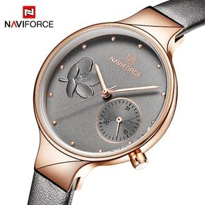 Image 1 - NAVIFORCE Women Watches Top Brand Luxury Fashion Female Quartz Wrist Watch Ladies Leather Waterproof Clock Girl Relogio Feminino