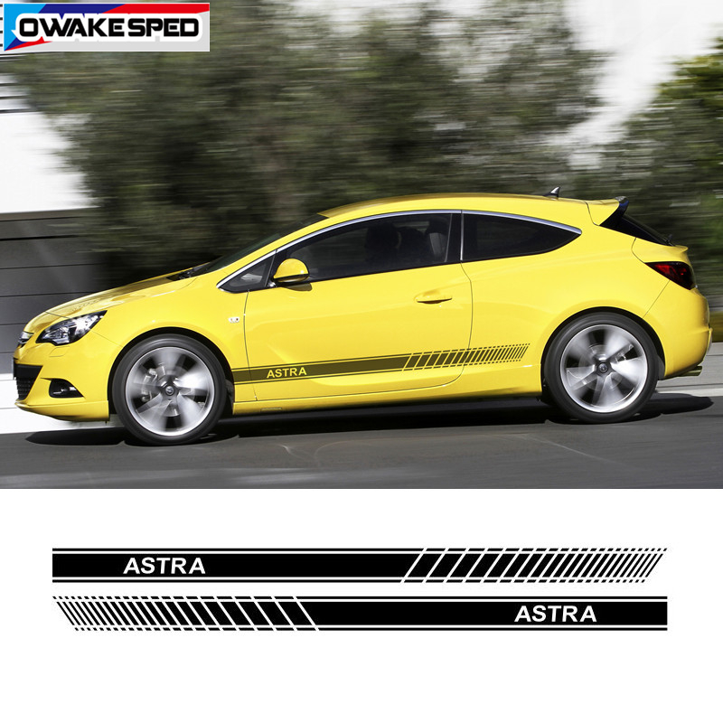 Car Door Side Skirt Sticker For Opel Astra GTC OPC 3-5 Doors Racing Sport Stripes Both Side Auto Body Decor Decals