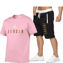 2021Summer Men's T-shirt Set 2-piece Men's Sportswear Suit Basketball Sports Fitness Jordan-23 Printed Short Sleeve + Men's Suit