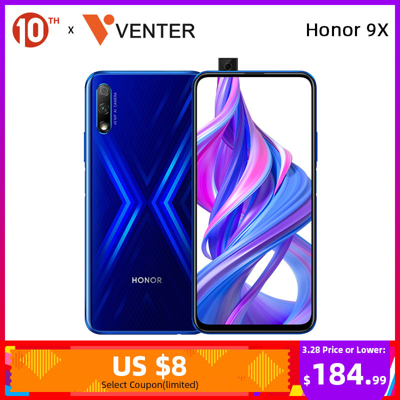 In Stock Global Version Honor 9X Smartphone 4G 128G 48MP Triples Camera 6.59'